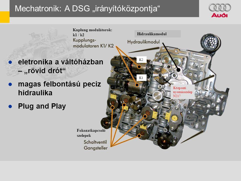 """ eletronika a váltóházban – """"rövid drót  magas felbontású peciz hidraulika  Plug and Play Mechatronik: A DSG """"irányítóközpontja Kuplung modulátorok: k1 / k2 Hidraulikamodul Fokozatkapcsoló szelepek K2 K1 Központi nyomásszelep N217"""