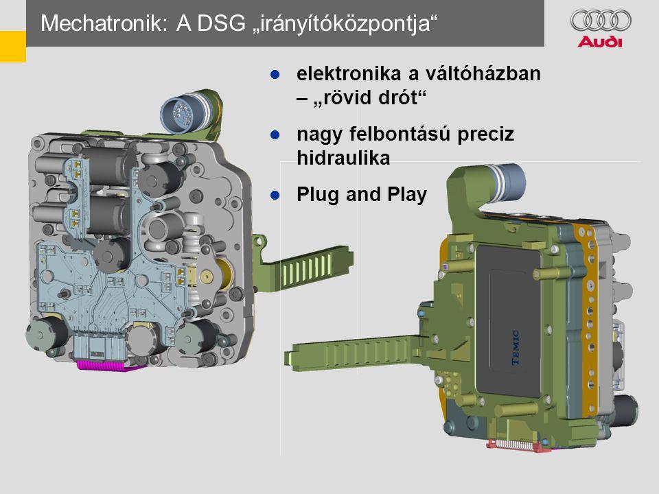 """Mechatronik: A DSG """"irányítóközpontja  elektronika a váltóházban – """"rövid drót  nagy felbontású preciz hidraulika  Plug and Play"""