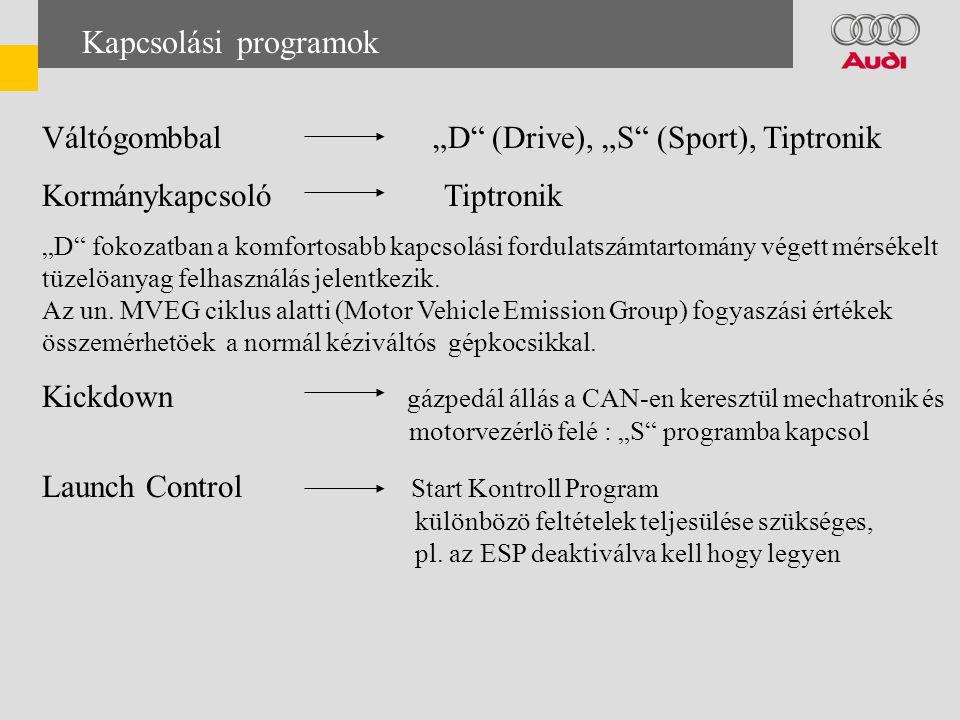 """Kapcsolási programok Váltógombbal """"D (Drive), """"S (Sport), Tiptronik Kormánykapcsoló Tiptronik """"D fokozatban a komfortosabb kapcsolási fordulatszámtartomány végett mérsékelt tüzelöanyag felhasználás jelentkezik."""