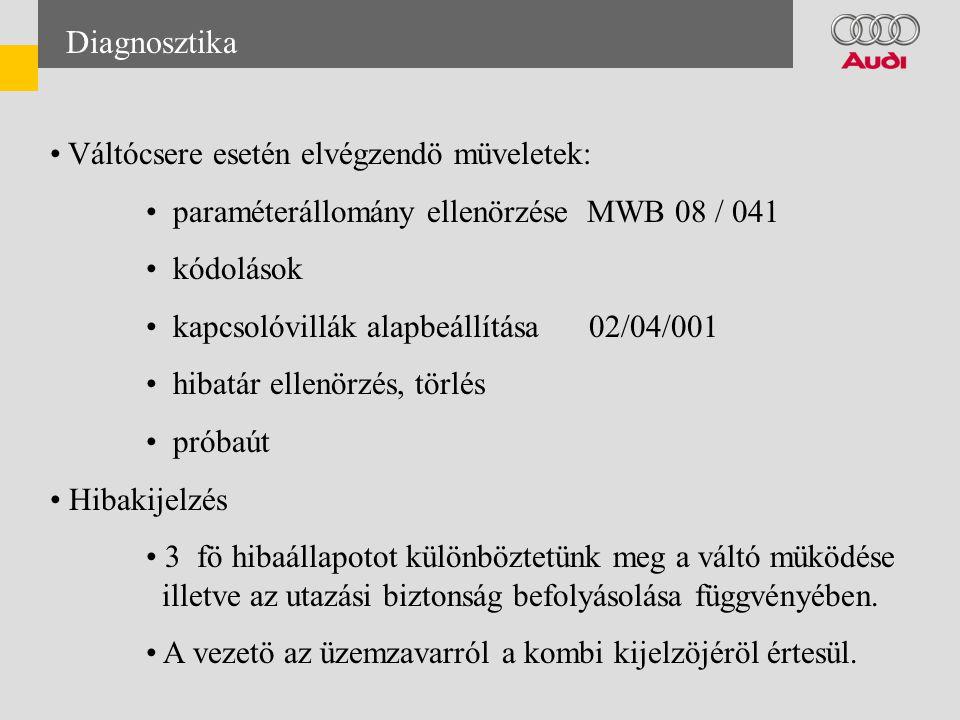 Diagnosztika • Váltócsere esetén elvégzendö müveletek: • paraméterállomány ellenörzése MWB 08 / 041 • kódolások • kapcsolóvillák alapbeállítása 02/04/001 • hibatár ellenörzés, törlés • próbaút • Hibakijelzés • 3 fö hibaállapotot különböztetünk meg a váltó müködése illetve az utazási biztonság befolyásolása függvényében.