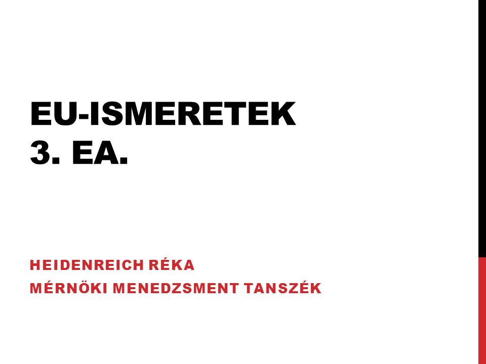 EU-ISMERETEK 3. EA. HEIDENREICH RÉKA MÉRNÖKI MENEDZSMENT TANSZÉK