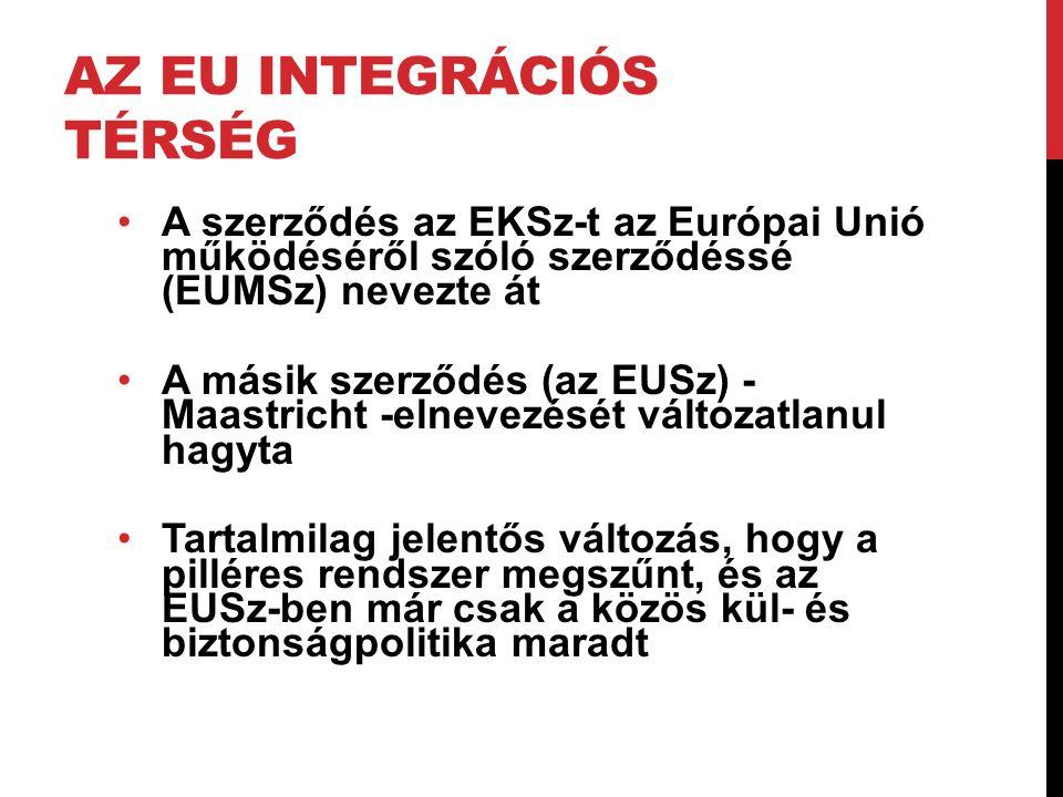 AZ EU INTEGRÁCIÓS TÉRSÉG •A szerződés az EKSz-t az Európai Unió működéséről szóló szerződéssé (EUMSz) nevezte át •A másik szerződés (az EUSz) - Maastr