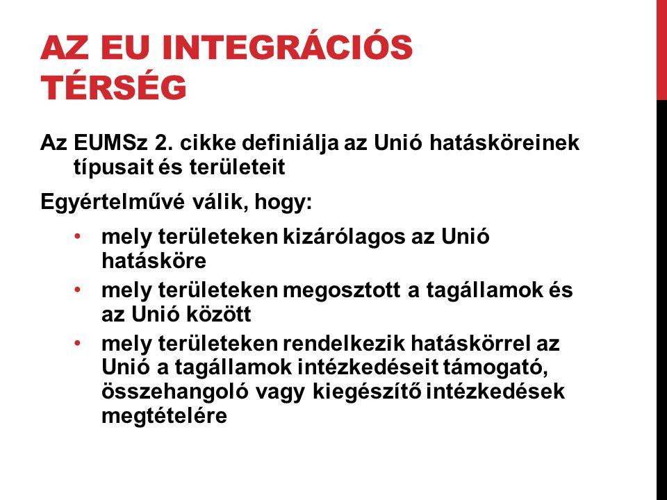 AZ EU INTEGRÁCIÓS TÉRSÉG Az EUMSz 2. cikke definiálja az Unió hatásköreinek típusait és területeit Egyértelművé válik, hogy: •mely területeken kizáról