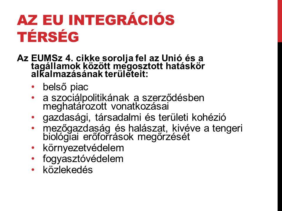 AZ EU INTEGRÁCIÓS TÉRSÉG Az EUMSz 4. cikke sorolja fel az Unió és a tagállamok között megosztott hatáskör alkalmazásának területeit: •belső piac •a sz