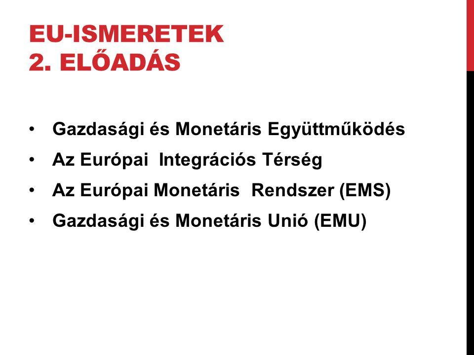 AZ EURÓPAI MONETÁRIS RENDSZER LÉTREJÖTTE 1978: Brémai Csúcs:Döntés az Európai Monetáris Rendszer létrehozásáról 1979-től 1992/93-ig működött az Európai Monetáris Rendszer, voltak árfolyam- kiigazítások, de viszonylag nyugodtan működött 1992/93-ban az Európai Monetáris Rendszer válságba kerül.
