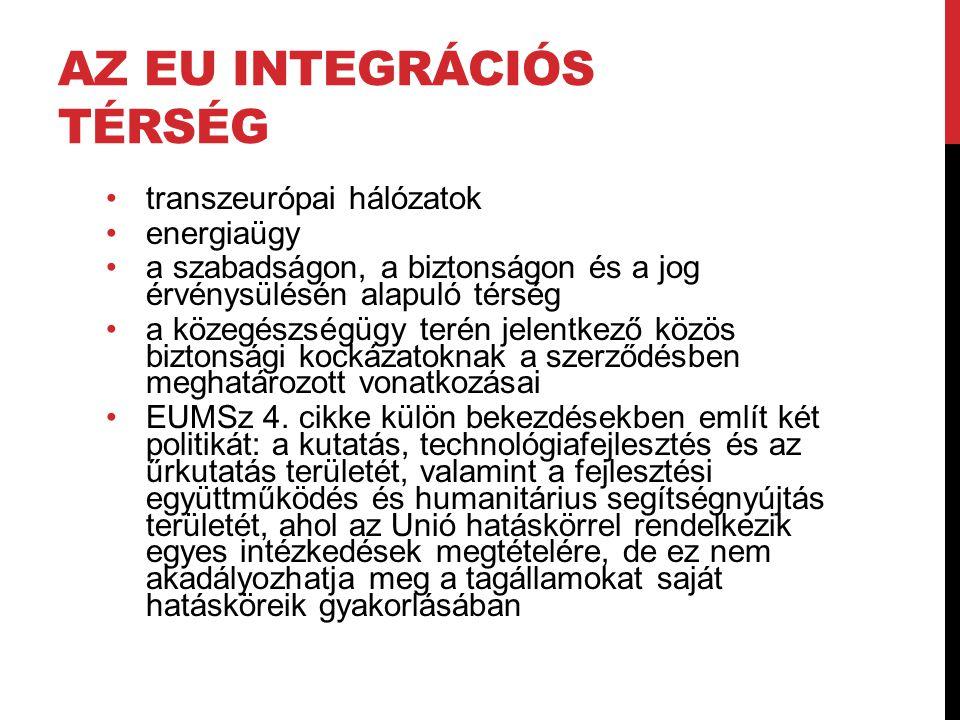 AZ EU INTEGRÁCIÓS TÉRSÉG •transzeurópai hálózatok •energiaügy •a szabadságon, a biztonságon és a jog érvénysülésén alapuló térség •a közegészségügy te