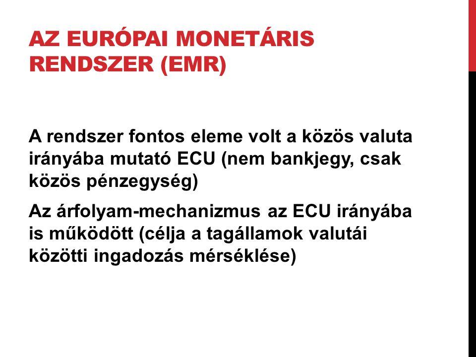 AZ EURÓPAI MONETÁRIS RENDSZER (EMR) A rendszer fontos eleme volt a közös valuta irányába mutató ECU (nem bankjegy, csak közös pénzegység) Az árfolyam-