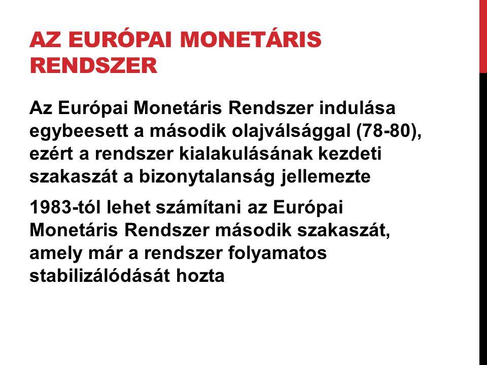AZ EURÓPAI MONETÁRIS RENDSZER Az Európai Monetáris Rendszer indulása egybeesett a második olajválsággal (78-80), ezért a rendszer kialakulásának kezde