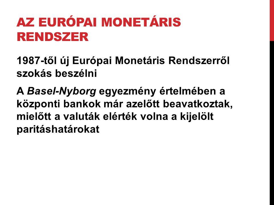 AZ EURÓPAI MONETÁRIS RENDSZER 1987-től új Európai Monetáris Rendszerről szokás beszélni A Basel-Nyborg egyezmény értelmében a központi bankok már azel