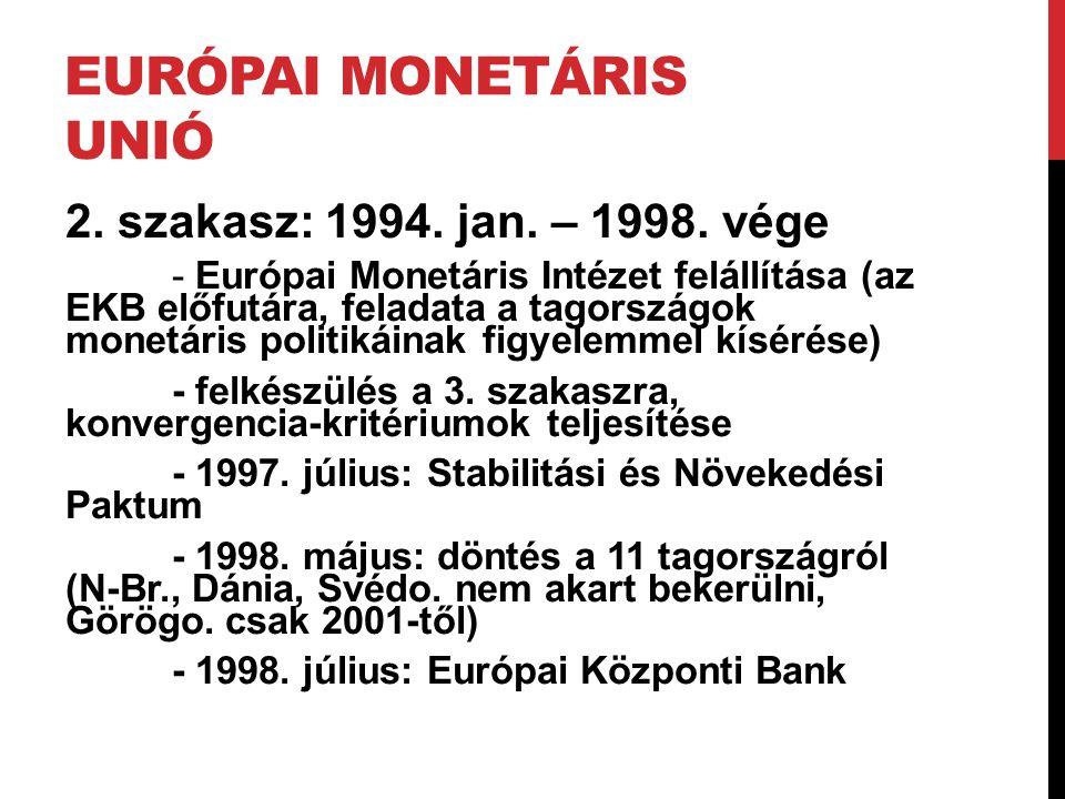 EURÓPAI MONETÁRIS UNIÓ 2. szakasz: 1994. jan. – 1998. vége - Európai Monetáris Intézet felállítása (az EKB előfutára, feladata a tagországok monetáris