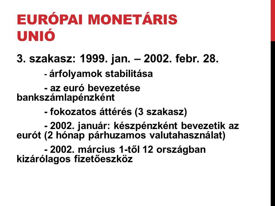EURÓPAI MONETÁRIS UNIÓ 3. szakasz: 1999. jan. – 2002. febr. 28. - árfolyamok stabilitása - az euró bevezetése bankszámlapénzként - fokozatos áttérés (
