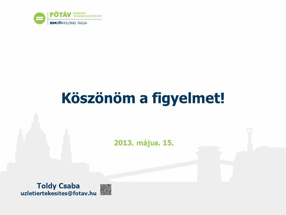Toldy Csaba uzletiertekesites@fotav.hu Köszönöm a figyelmet! 2013. május. 15.