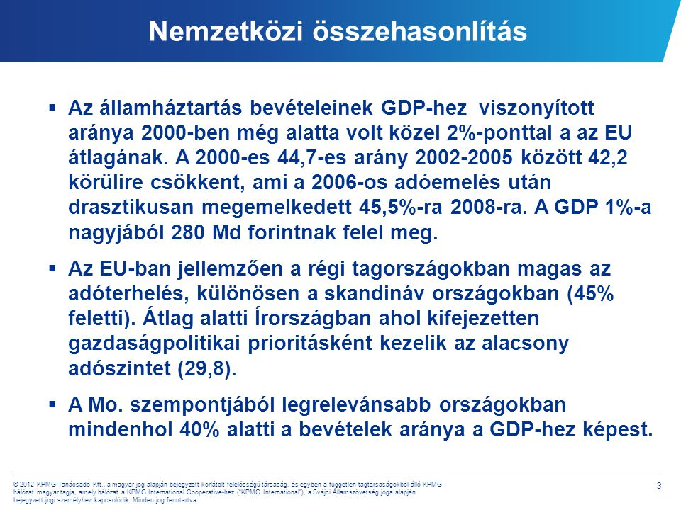 4 © 2012 KPMG Tanácsadó Kft., a magyar jog alapján bejegyzett korlátolt felelősségű társaság, és egyben a független tagtársaságokból álló KPMG- hálózat magyar tagja, amely hálózat a KPMG International Cooperative-hez ( KPMG International ), a Svájci Államszövetség joga alapján bejegyzett jogi személyhez kapcsolódik.