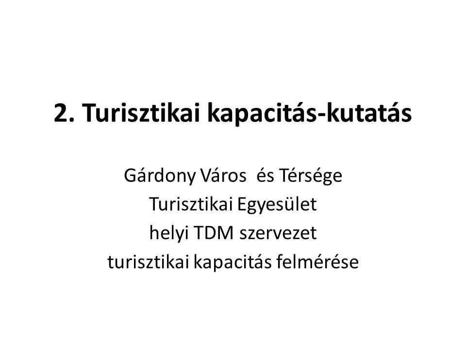 2. Turisztikai kapacitás-kutatás Gárdony Város és Térsége Turisztikai Egyesület helyi TDM szervezet turisztikai kapacitás felmérése