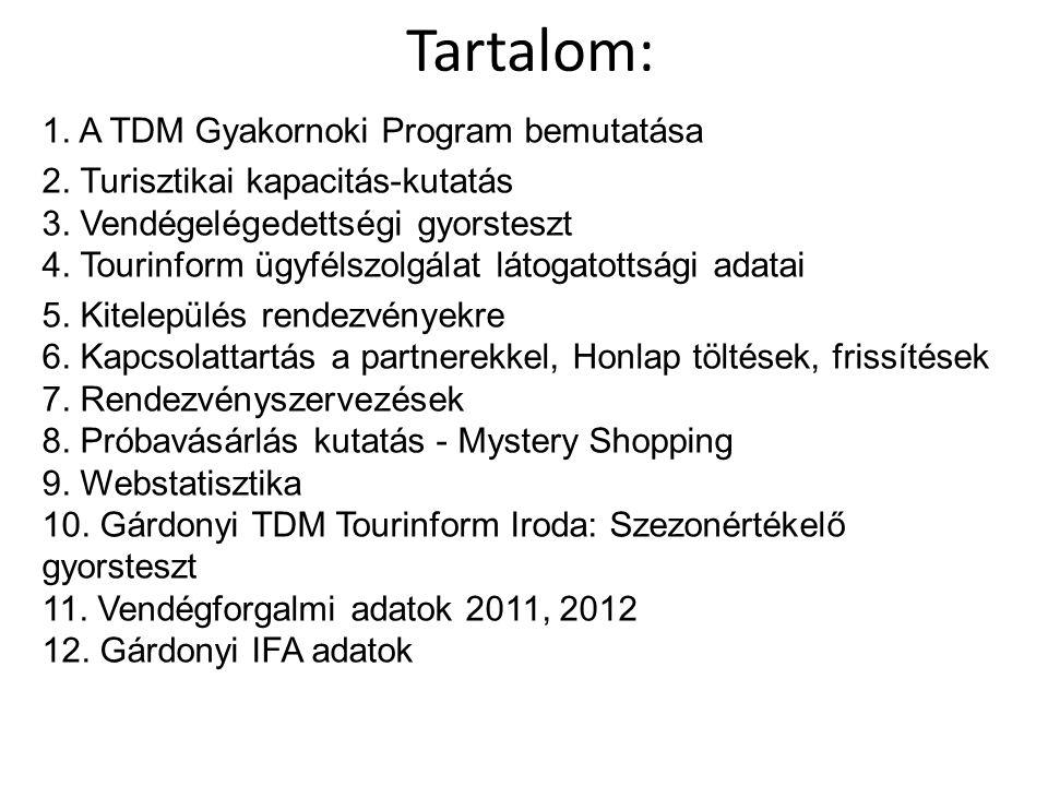 Tartalom: 1. A TDM Gyakornoki Program bemutatása 2. Turisztikai kapacitás-kutatás 3. Vendégelégedettségi gyorsteszt 4. Tourinform ügyfélszolgálat láto