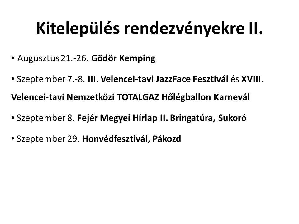 Kitelepülés rendezvényekre II. • Augusztus 21.-26. Gödör Kemping • Szeptember 7.-8. III. Velencei-tavi JazzFace Fesztivál és XVIII. Velencei-tavi Nemz