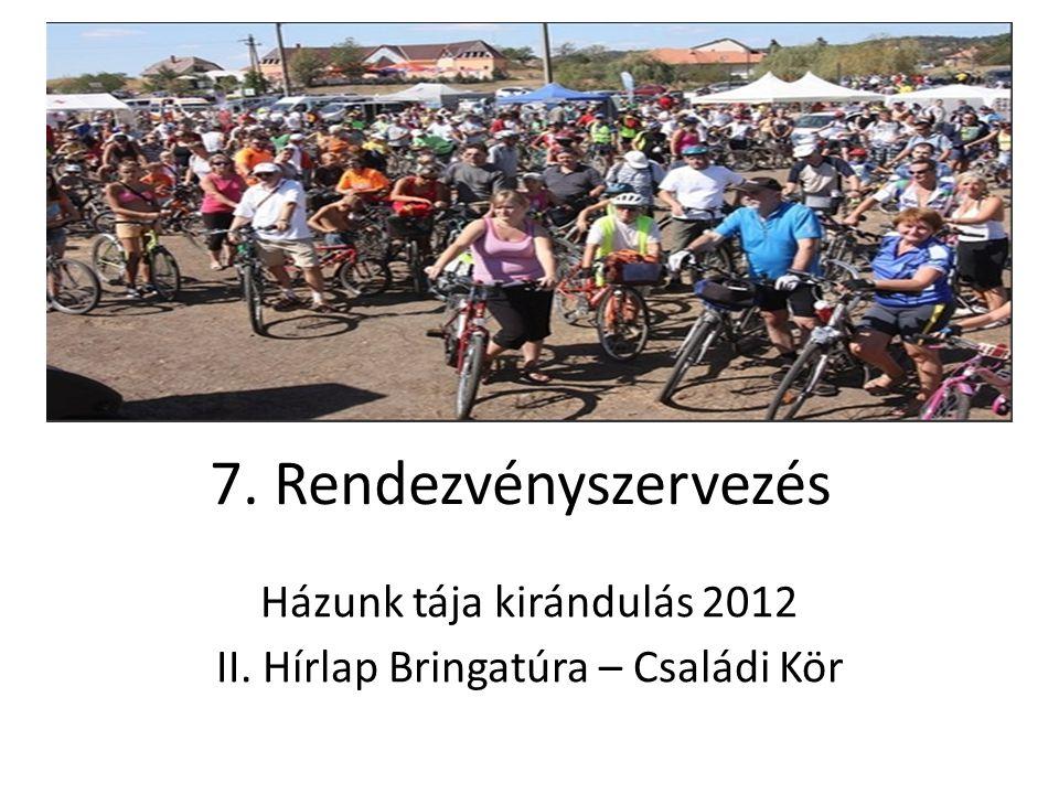 7. Rendezvényszervezés Házunk tája kirándulás 2012 II. Hírlap Bringatúra – Családi Kör