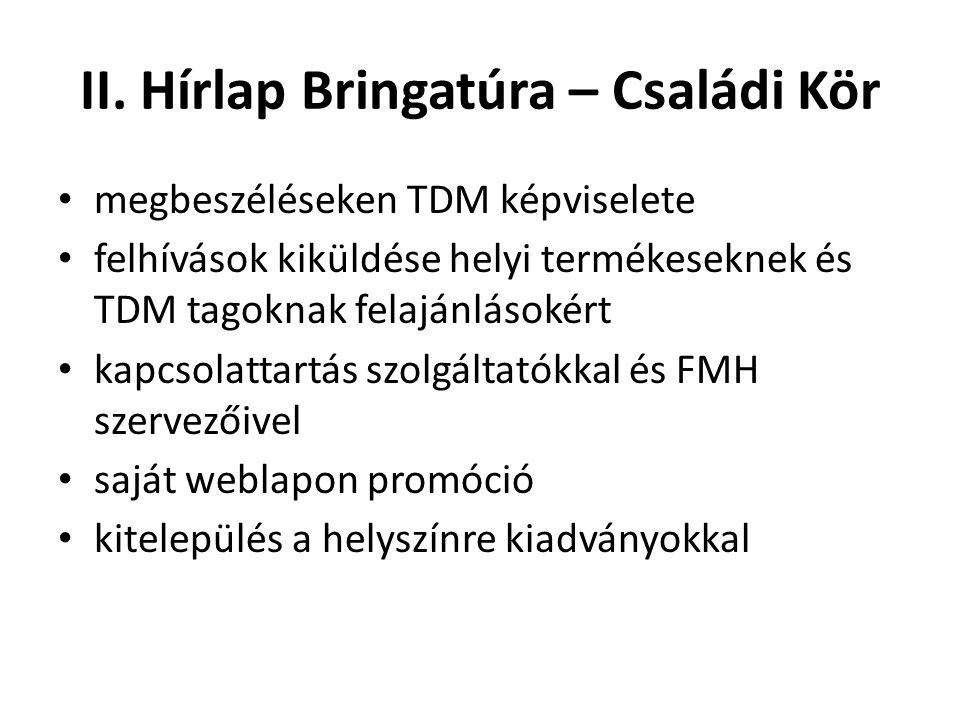 II. Hírlap Bringatúra – Családi Kör • megbeszéléseken TDM képviselete • felhívások kiküldése helyi termékeseknek és TDM tagoknak felajánlásokért • kap