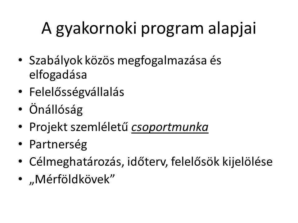 A gyakornoki program alapjai • Szabályok közös megfogalmazása és elfogadása • Felelősségvállalás • Önállóság • Projekt szemléletű csoportmunka • Partn