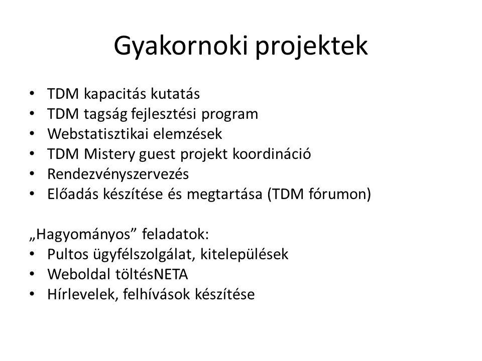 Gyakornoki projektek • TDM kapacitás kutatás • TDM tagság fejlesztési program • Webstatisztikai elemzések • TDM Mistery guest projekt koordináció • Re