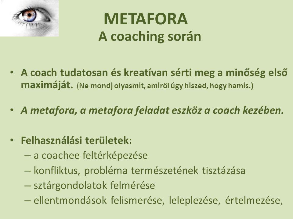 METAFORA A coaching során • A coach tudatosan és kreatívan sérti meg a minőség első maximáját.