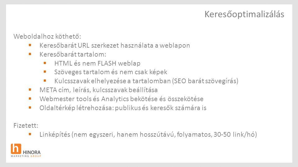 Keresőoptimalizálás Weboldalhoz köthető:  Keresőbarát URL szerkezet használata a weblapon  Keresőbarát tartalom:  HTML és nem FLASH weblap  Szöveg