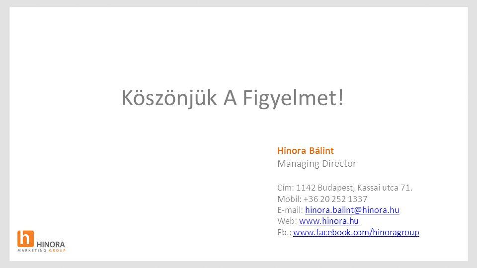 Köszönjük A Figyelmet! Hinora Bálint Managing Director Cím: 1142 Budapest, Kassai utca 71. Mobil: +36 20 252 1337 E-mail: hinora.balint@hinora.huhinor