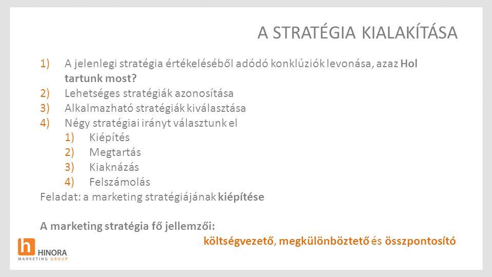 A STRATÉGIA KIALAKÍTÁSA 1)A jelenlegi stratégia értékeléséből adódó konklúziók levonása, azaz Hol tartunk most? 2)Lehetséges stratégiák azonosítása 3)