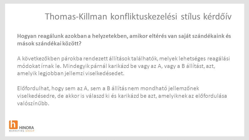 Thomas-Killman konfliktuskezelési stílus kérdőív Hogyan reagálunk azokban a helyzetekben, amikor eltérés van saját szándékaink és mások szándékai közö