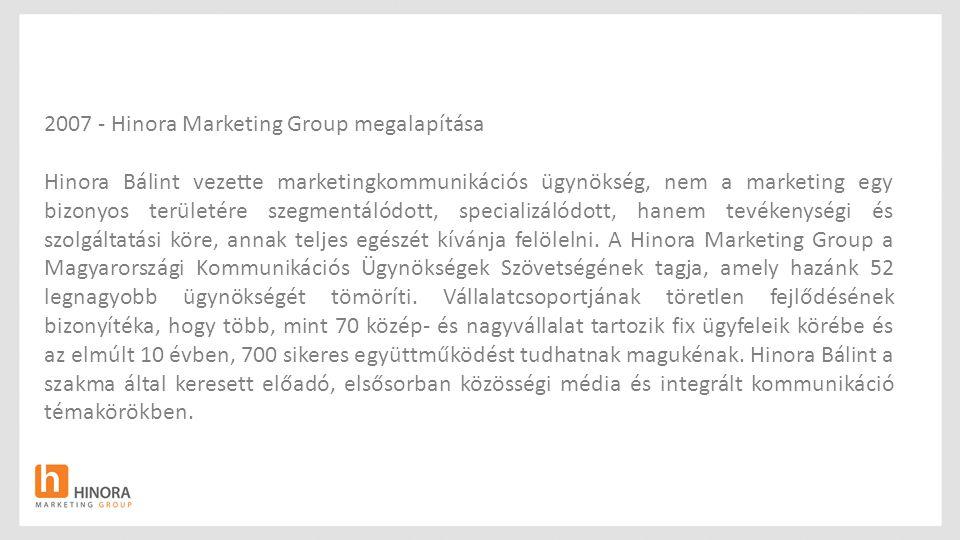 2007 - Hinora Marketing Group megalapítása Hinora Bálint vezette marketingkommunikációs ügynökség, nem a marketing egy bizonyos területére szegmentáló