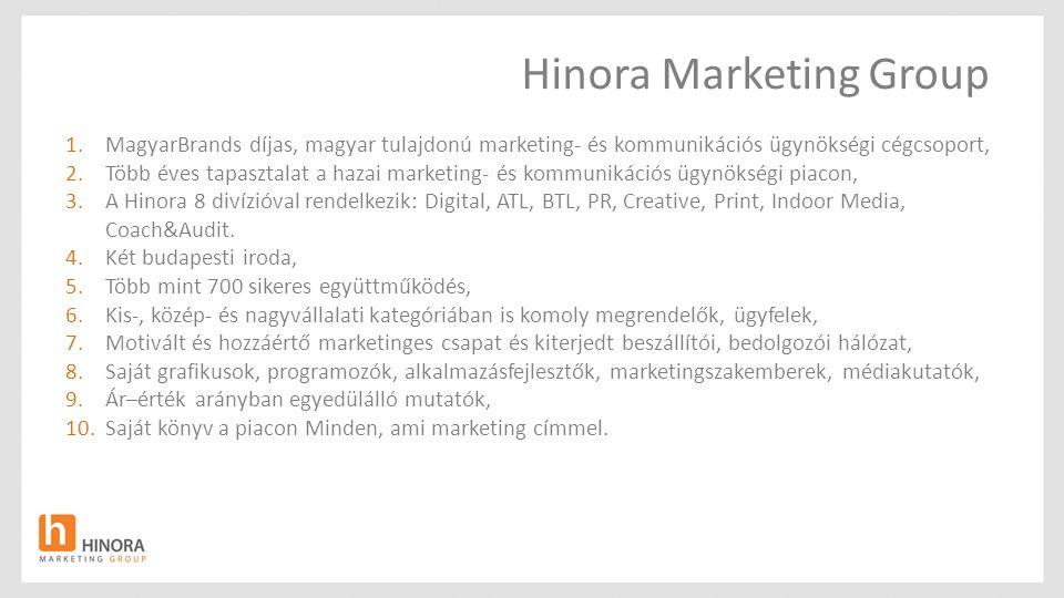 Hinora Marketing Group 1.MagyarBrands díjas, magyar tulajdonú marketing- és kommunikációs ügynökségi cégcsoport, 2.Több éves tapasztalat a hazai marke