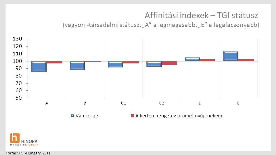 """Affinitási indexek – TGI státusz (vagyoni-társadalmi státusz, """"A"""" a legmagasabb, """"E"""" a legalacsonyabb) Forrás: TGI-Hungary, 2011"""