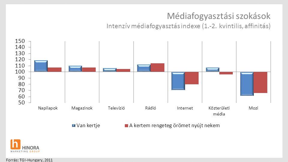 Médiafogyasztási szokások Intenzív médiafogyasztás indexe (1.-2. kvintilis, affinitás) Forrás: TGI-Hungary, 2011