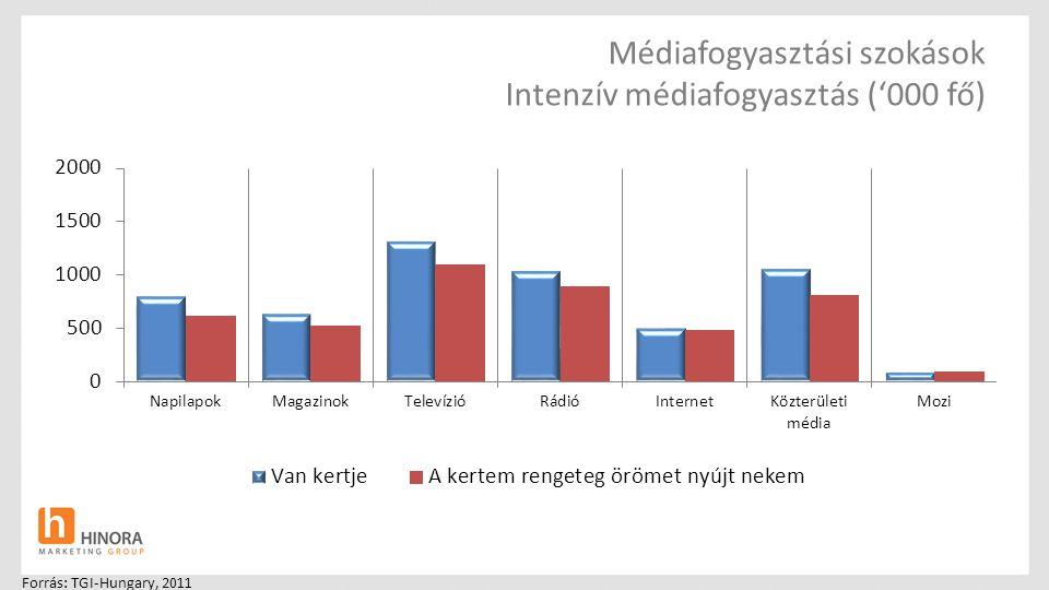 Médiafogyasztási szokások Intenzív médiafogyasztás ('000 fő) Forrás: TGI-Hungary, 2011