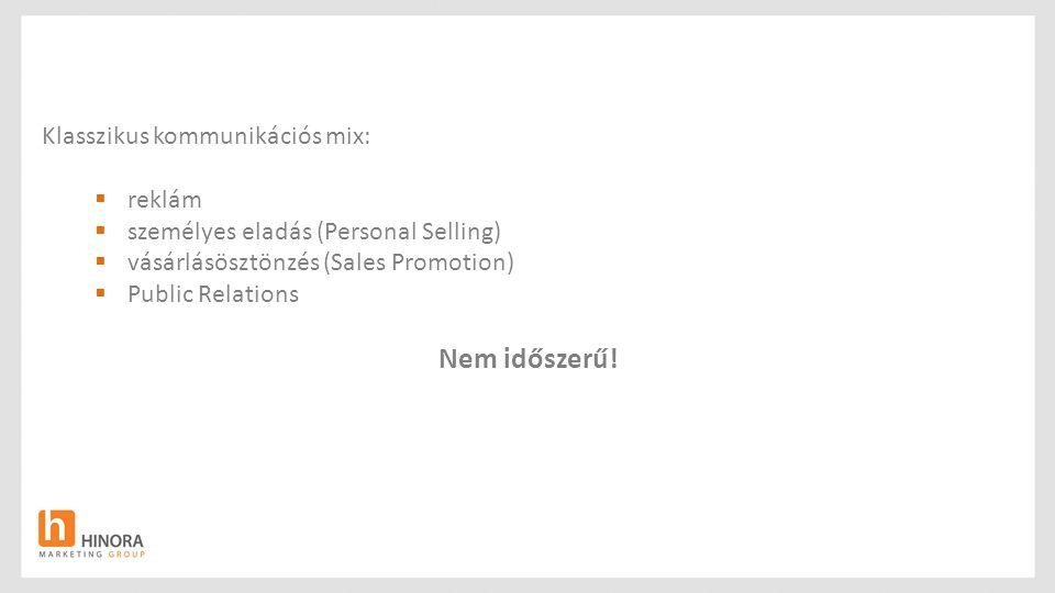 Klasszikus kommunikációs mix:  reklám  személyes eladás (Personal Selling)  vásárlásösztönzés (Sales Promotion)  Public Relations Nem időszerű!