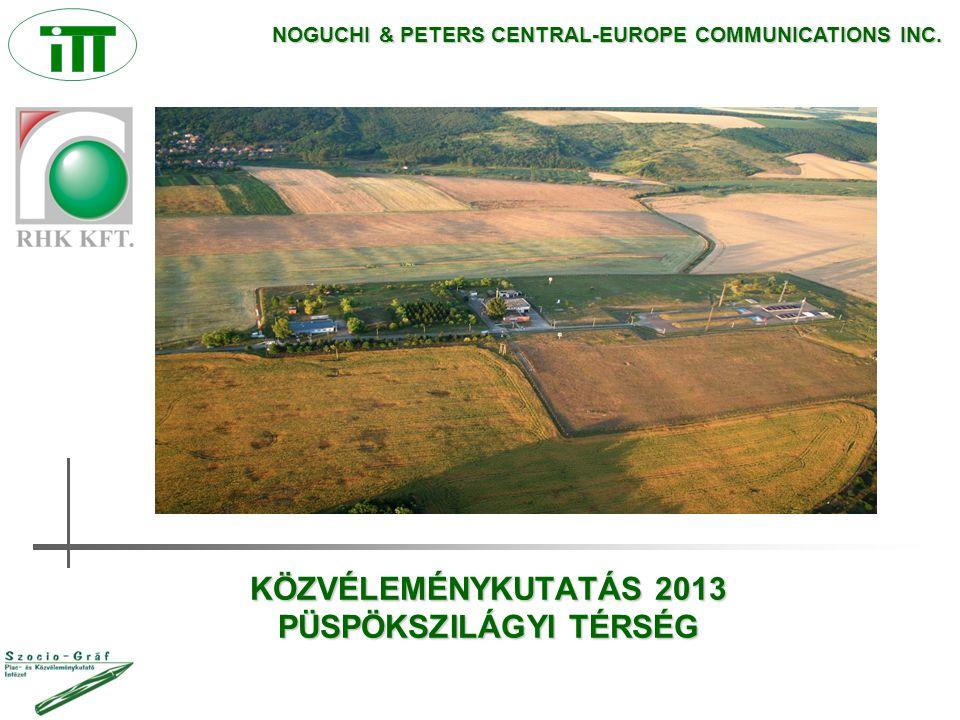 KÖZVÉLEMÉNYKUTATÁS 2013 PÜSPÖKSZILÁGYI TÉRSÉG NOGUCHI & PETERS CENTRAL-EUROPE COMMUNICATIONS INC.