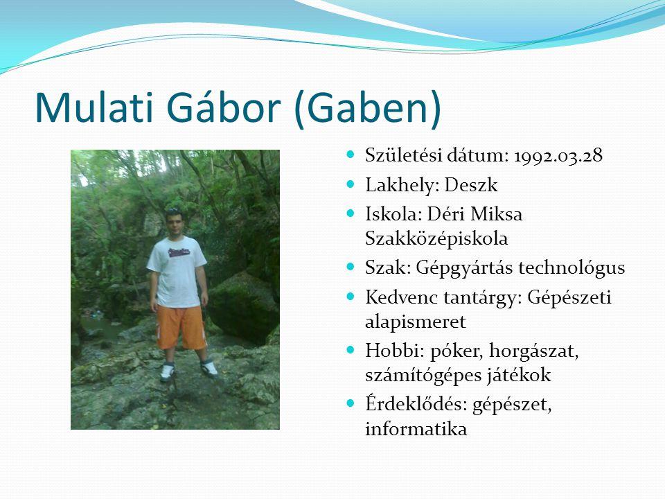 Mulati Gábor (Gaben)  Születési dátum: 1992.03.28  Lakhely: Deszk  Iskola: Déri Miksa Szakközépiskola  Szak: Gépgyártás technológus  Kedvenc tant