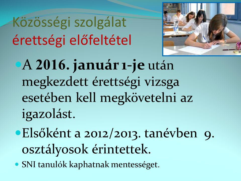 Közösségi szolgálat érettségi előfeltétel  A 2016. január 1-je után megkezdett érettségi vizsga esetében kell megkövetelni az igazolást.  Elsőként a