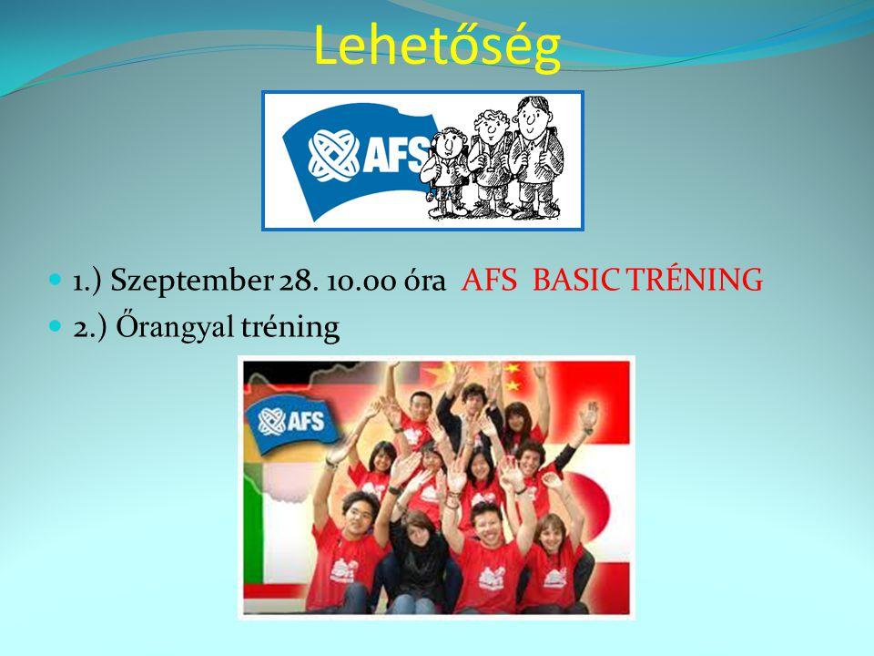 Lehetőség  1.) Szeptember 28. 10.00 óra AFS BASIC TRÉNING  2.) Őrangyal tréning