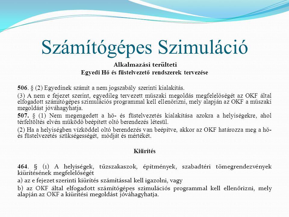 Számítógépes Szimuláció Alkalmazási terülteti Egyedi Hő és füstelvezető rendszerek tervezése 506. § (2) Egyedinek számít a nem jogszabály szerinti kia