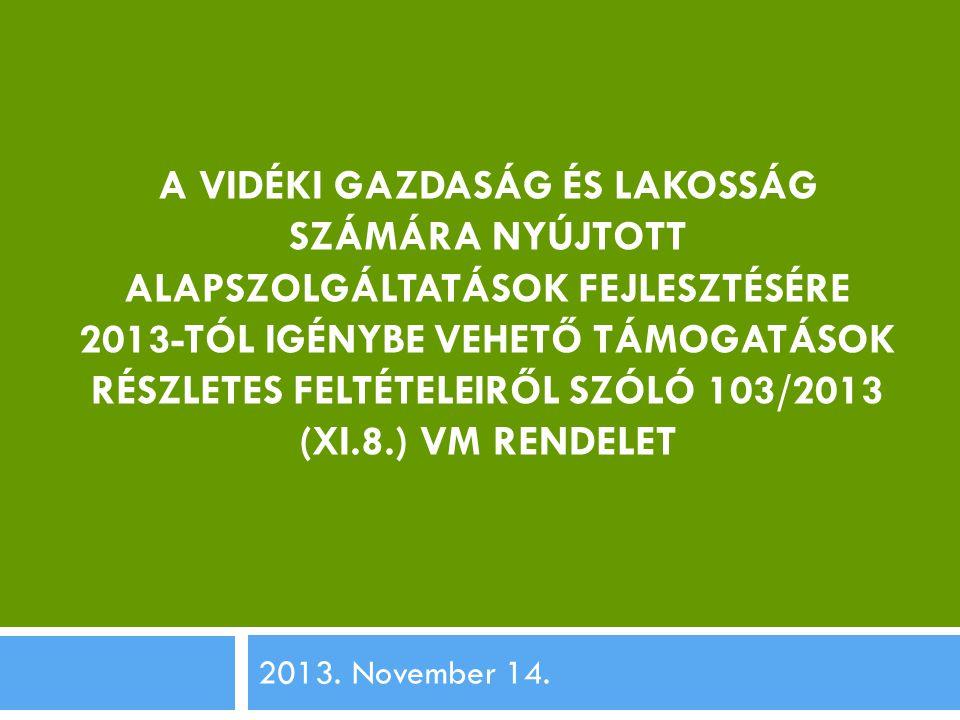 A VIDÉKI GAZDASÁG ÉS LAKOSSÁG SZÁMÁRA NYÚJTOTT ALAPSZOLGÁLTATÁSOK FEJLESZTÉSÉRE 2013-TÓL IGÉNYBE VEHETŐ TÁMOGATÁSOK RÉSZLETES FELTÉTELEIRŐL SZÓLÓ 103/2013 (XI.8.) VM RENDELET 2013.