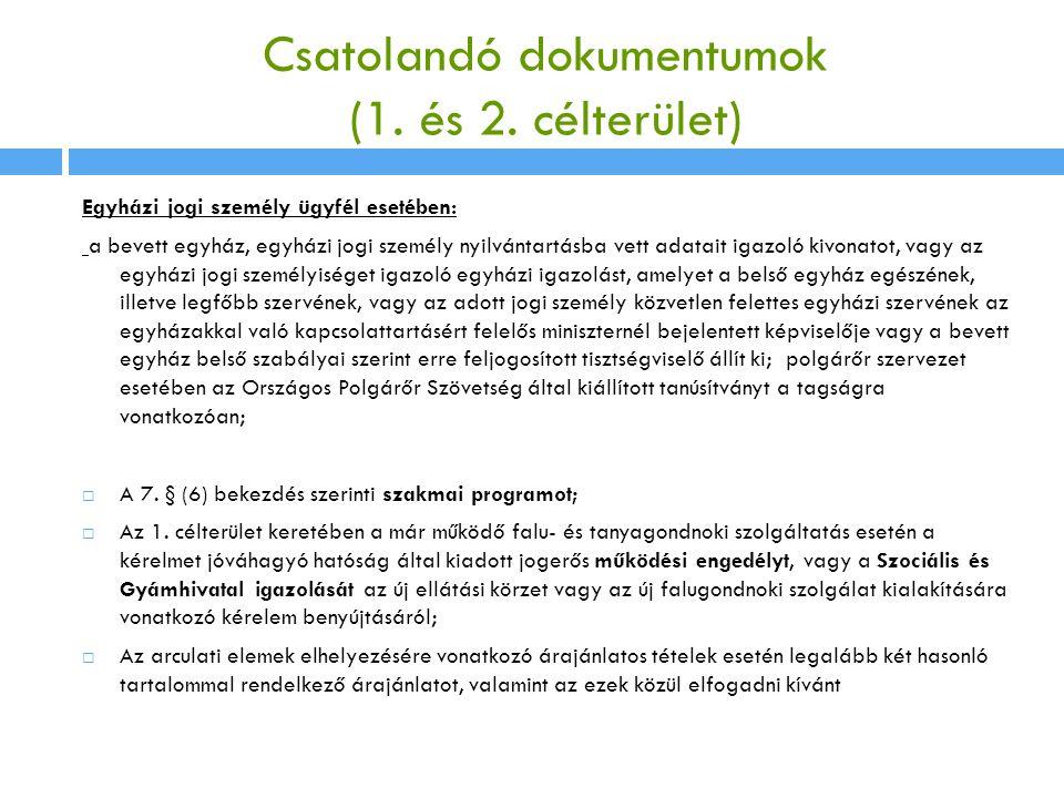 Csatolandó dokumentumok (1. és 2. célterület) Egyházi jogi személy ügyfél esetében: a bevett egyház, egyházi jogi személy nyilvántartásba vett adatait