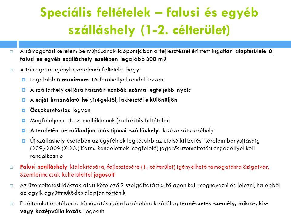 Speciális feltételek – falusi és egyéb szálláshely (1-2.