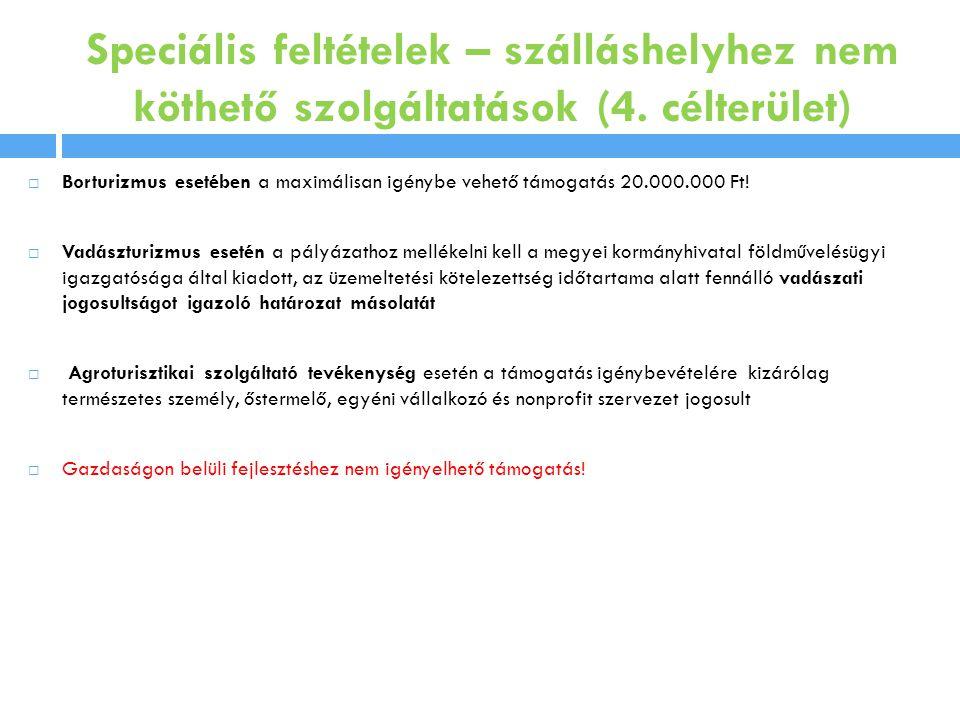 Speciális feltételek – szálláshelyhez nem köthető szolgáltatások (4.