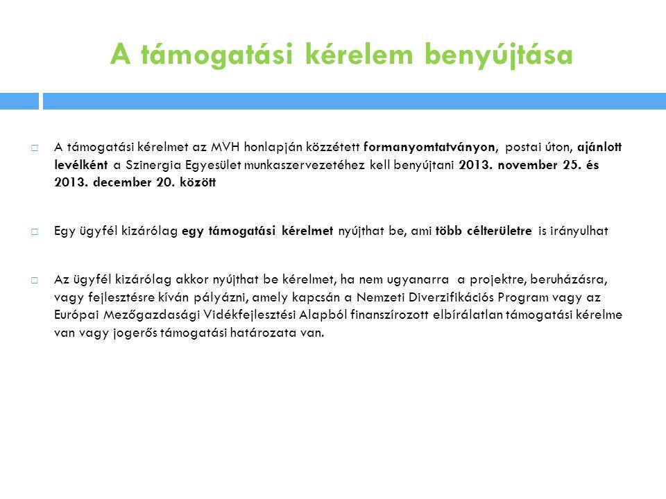 A támogatási kérelem benyújtása  A támogatási kérelmet az MVH honlapján közzétett formanyomtatványon, postai úton, ajánlott levélként a Szinergia Egyesület munkaszervezetéhez kell benyújtani 2013.