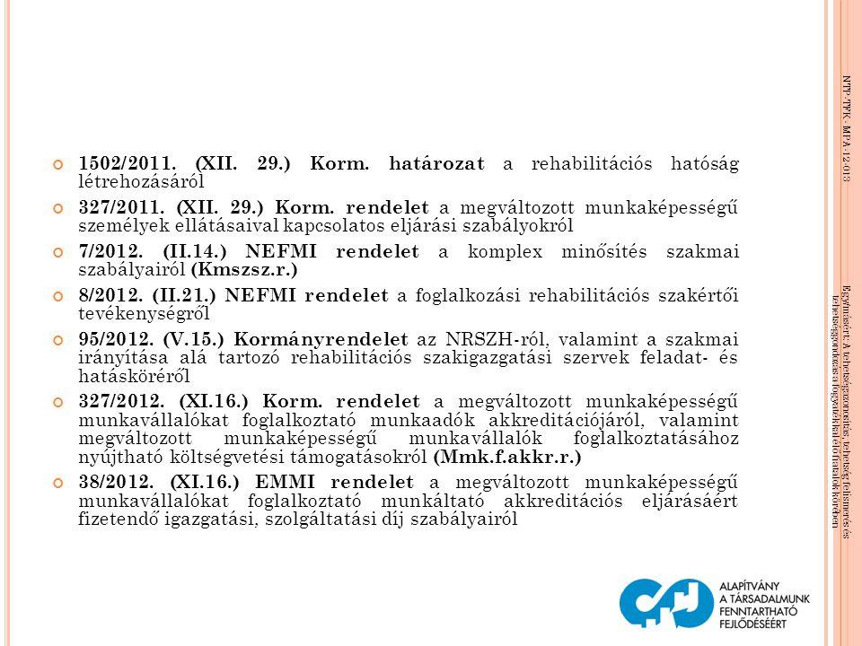 NTP-TFK- MPA-12-013 Egy/másért: A tehetségazonosítás, tehetség felismerés és tehetséggondozás a fogyatékkal élő fiatalok körében 1502/2011. (XII. 29.)