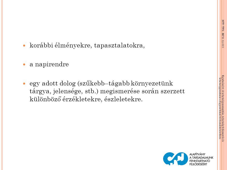NTP-TFK- MPA-12-013 Egy/másért: A tehetségazonosítás, tehetség felismerés és tehetséggondozás a fogyatékkal élő fiatalok körében  korábbi élményekre,