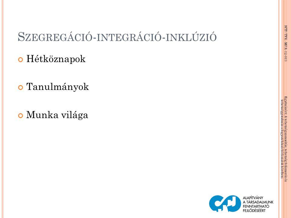 NTP-TFK- MPA-12-013 Egy/másért: A tehetségazonosítás, tehetség felismerés és tehetséggondozás a fogyatékkal élő fiatalok körében S ZEGREGÁCIÓ - INTEGR