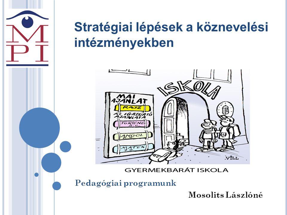 Stratégiai lépések a köznevelési intézményekben Pedagógiai programunk Mosolits Lászlóné