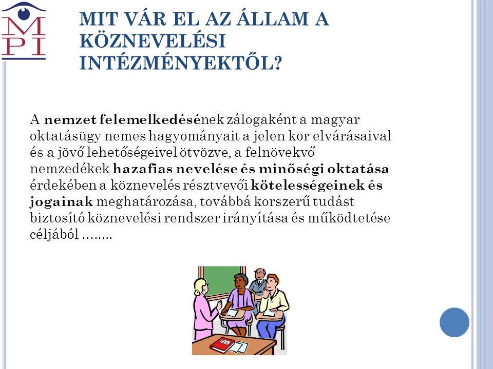 MIT VÁR EL AZ ÁLLAM A KÖZNEVELÉSI INTÉZMÉNYEKTŐL? A nemzet felemelkedésé nek zálogaként a magyar oktatásügy nemes hagyományait a jelen kor elvárásaiva